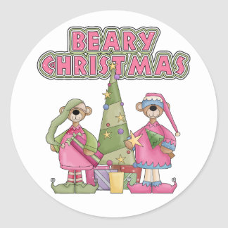 Beary Christmas Pink Classic Round Sticker