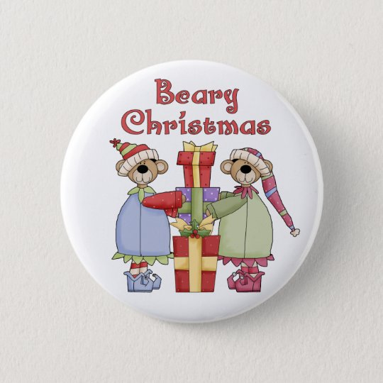 Beary Christmas Presents Button