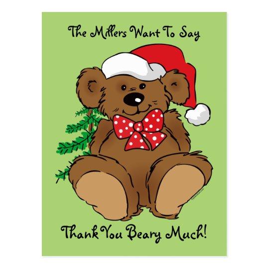 Beary Christmas Thank You Postcard