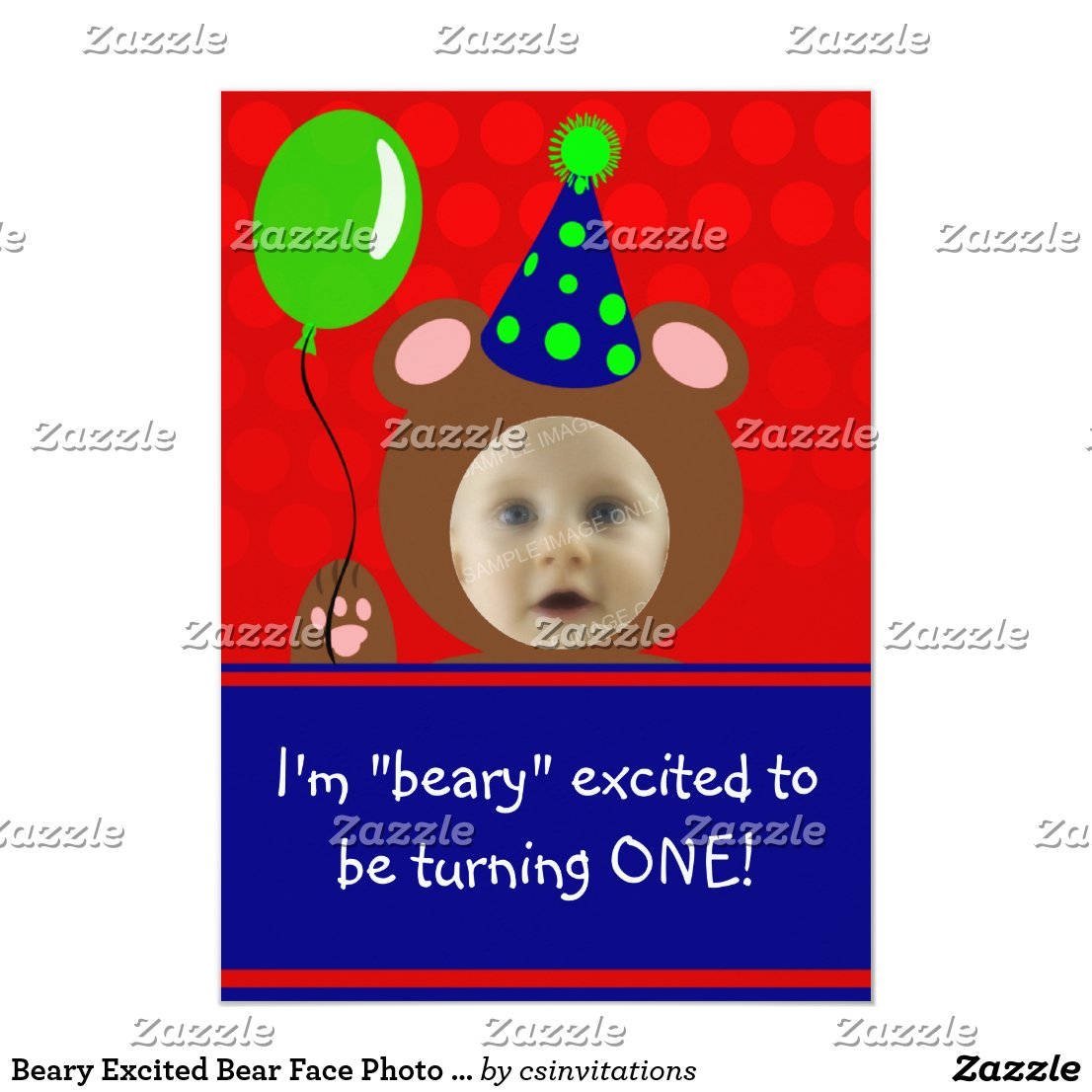 Beary Excited Bear Face Photo Birthday Party