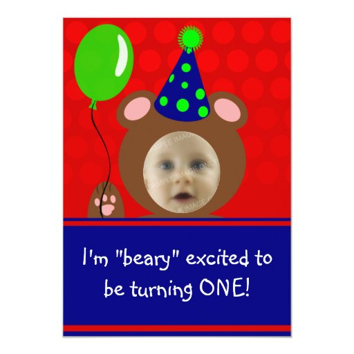 Beary Excited Bear Face Photo Birthday Party 5x7 Paper Invitation Card