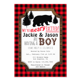 Beary Excited Woodsy Baby Shower Invitation