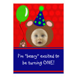 Beary excitó a la fiesta de cumpleaños de la foto  invitacion personalizada