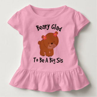 Beary Glad To Be A Big Sister Girls Ruffle T-shirt