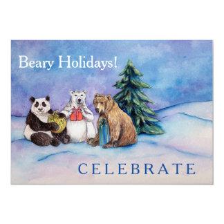 Beary Holidays Custom Open House Invitation Cards