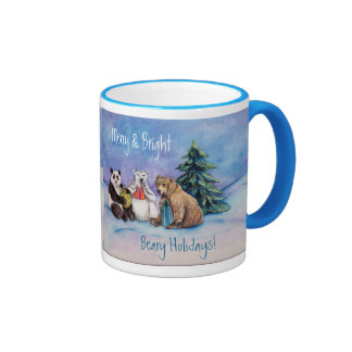Beary Holidays Merry and Bright Custom Coffee Cups Ringer Coffee Mug