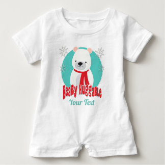 Beary Huggable Winter Christmas Bear Personalized Baby Romper