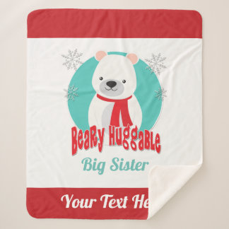 Beary Huggable Winter Christmas Bear Personalized Sherpa Blanket
