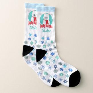 Beary Huggable Winter Christmas Bear Personalized Socks
