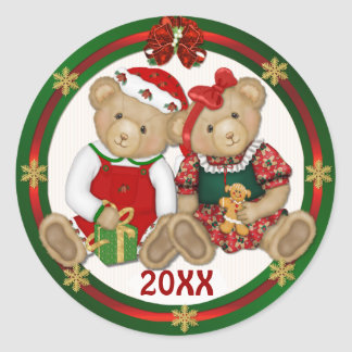 Beary Merry Christmas 20XX Classic Round Sticker