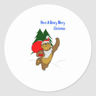 Beary Merry Christmas Classic Round Sticker