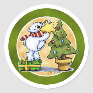 Beary Merry Christmas - First Christmas Classic Round Sticker