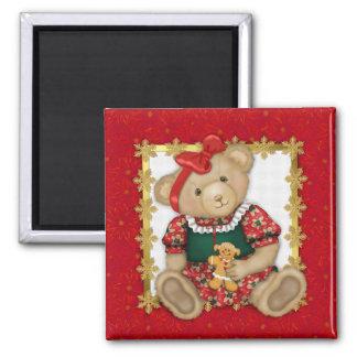 Beary Merry Christmas -Girl Teddy Magnet