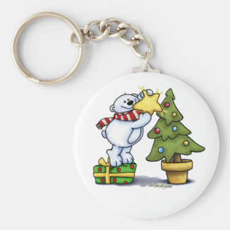 Beary Merry Christmas Basic Round Button Keychain