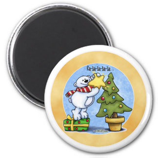 Beary Merry Christmas 2 Inch Round Magnet
