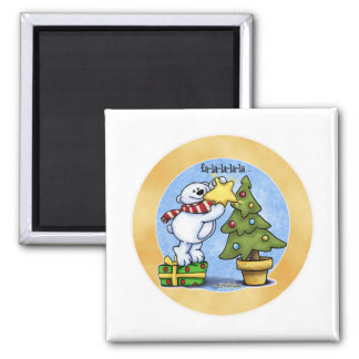 Beary Merry Christmas 2 Inch Square Magnet