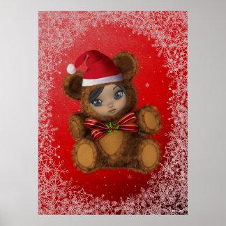 Beary Merry Christmas Print Poster