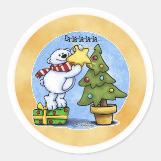 Beary Merry Christmas Classic Round Sticker