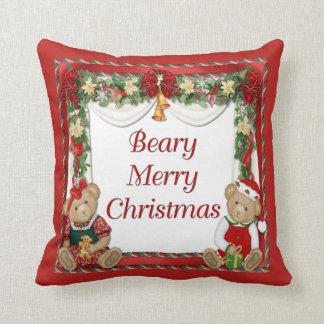 Beary Merry Christmas Throw Pillow