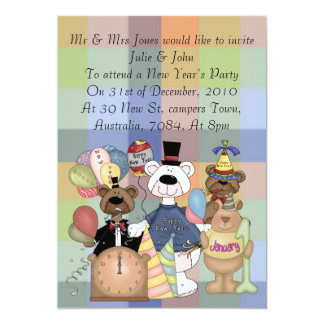 Beary New Year 5x7 Paper Invitation Card