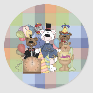 Beary New Year Classic Round Sticker