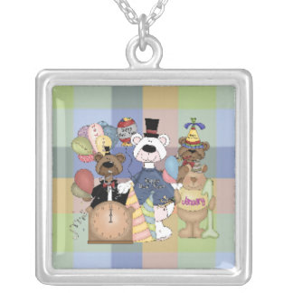 Beary New Year Square Pendant Necklace