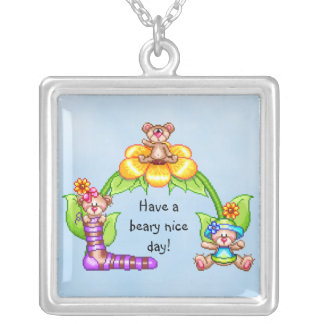 Beary Nice Day Pixel Art Square Pendant Necklace