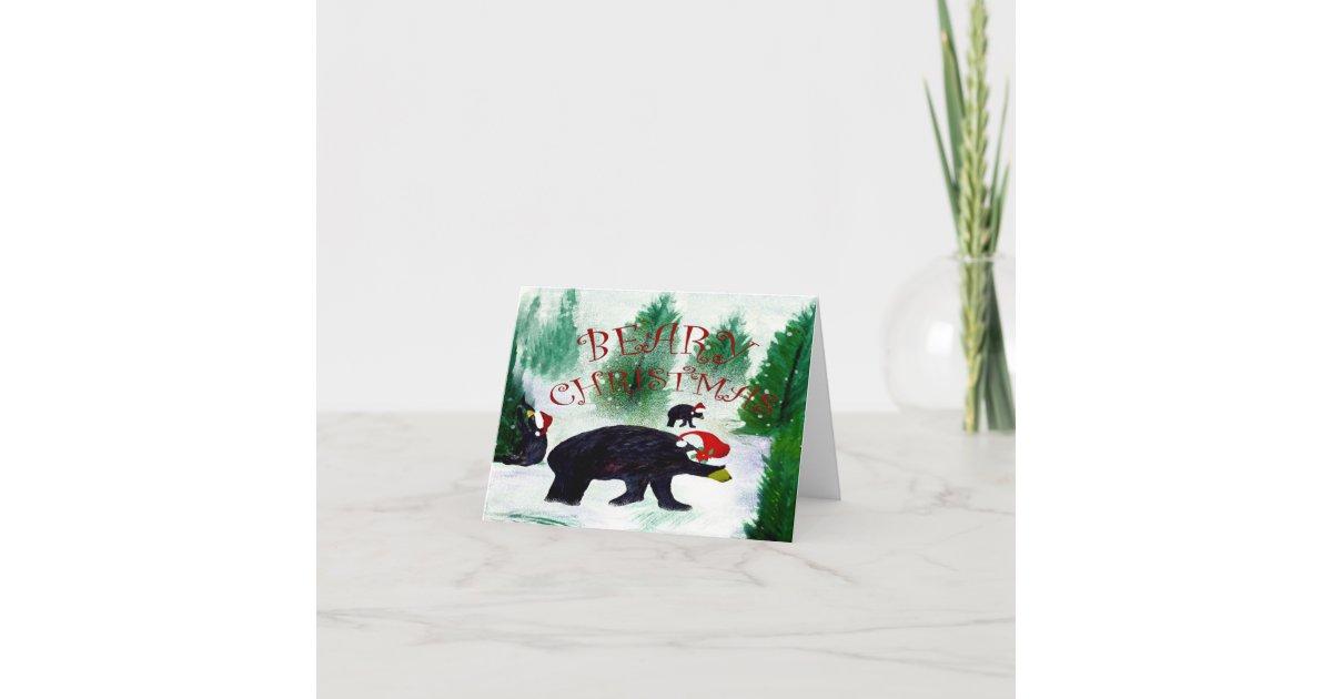 Beary Santa bear Christmas cards from my art | Zazzle.com