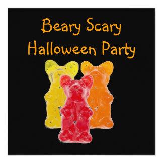 "Beary Scary  Gummy Bear Halloween Party 5.25"" Square Invitation Card"