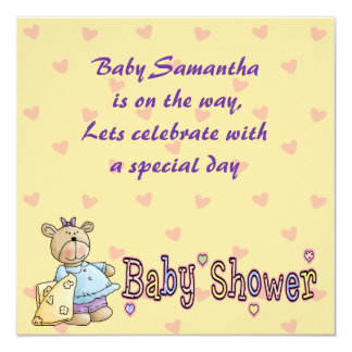 """Beary Special Celebration Baby Shower Invites 5.25"""" Square Invitation Card"""