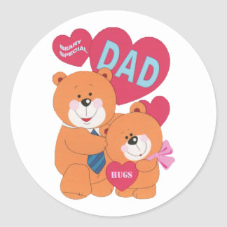 Beary Special Dad Classic Round Sticker
