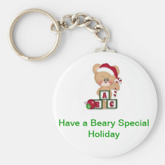 Beary Special Holiday Basic Round Button Keychain