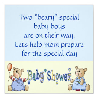 Beary Special Twin Boy Baby Shower Invites