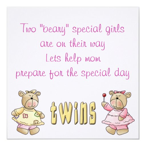 Beary Special Twins Baby Shower Invites
