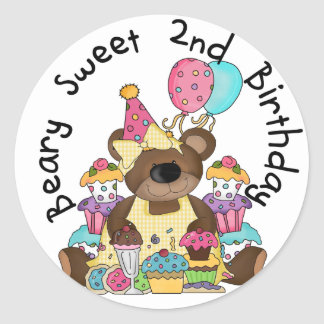 Beary Sweet 2nd Birthday T-shirts and Gifts Classic Round Sticker