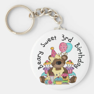 Beary Sweet 3rd Birthday Tshirts and Gifts Keychain