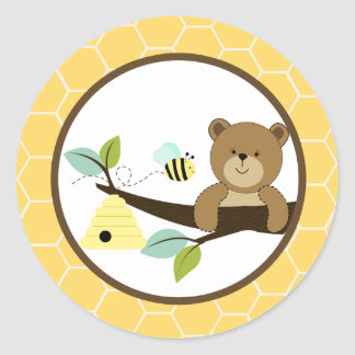 Beary Sweet Bear and Bee Envelope Seals 20 Classic Round Sticker