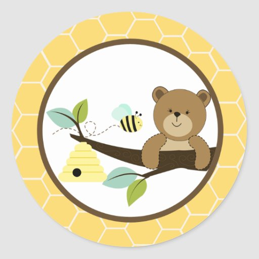 Beary Sweet Bear and Bee Envelope Seals 20 Round Sticker