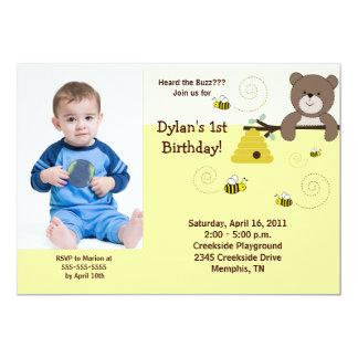 Beary Sweet Bear & Bee *PHOTO* Birthday 5x7 Custom Invites