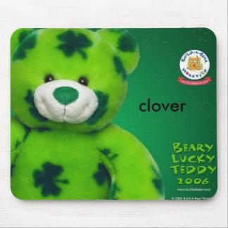 bearyLuckyTeddy_1600, clover Mouse Pad