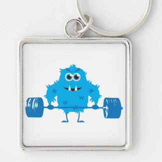 Beast Mode - Cute Monster Lifting Weights Keychain