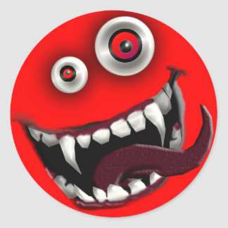 beast smiley classic round sticker