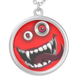 beast smiley round pendant necklace