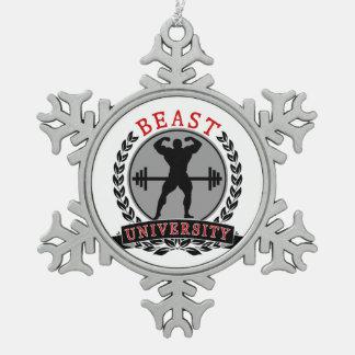 Beast Univ Bodybuilding Pewter Snowflake Ornament