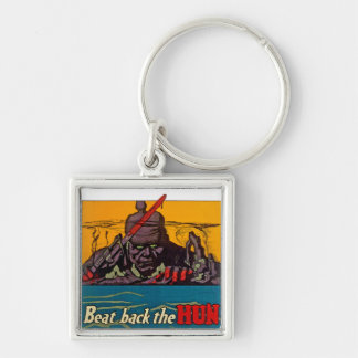 Beat Back The Hun Silver-Colored Square Keychain