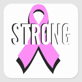 Beat Cancer- Strong Breast Cancer Pink Ribbon Square Sticker