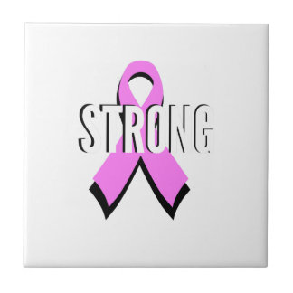 Beat Cancer- Strong Breast Cancer Pink Ribbon Tile