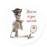 Beat Me Tennis Pirate Classic Round Sticker