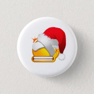 beat plaster christmas face pinback button