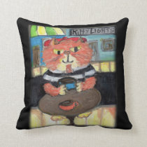Beat Poet Folk Art Cat Throw Pillow